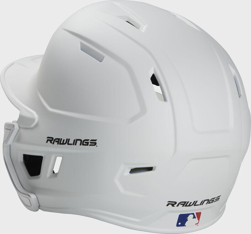 Back left view of a matte white MACHEXTR MACH series batting helmet with air vents