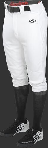 Front of Rawlings White Youth Launch Knicker Baseball Pant - SKU #YLNCHKP