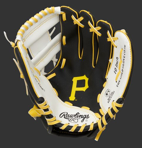 A black/white Rawlings Pittsburgh Pirates youth glove with a Pirates glove stamped in the palm - SKU: 22000021111
