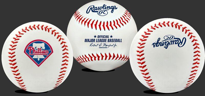 3 views of a MLB Philadelphia Phillies baseball