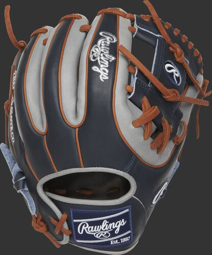 Back view of a navy PROR314-2NG 11.5-inch Heart of the Hide R2G I web glove with grey trim and tan double-welting