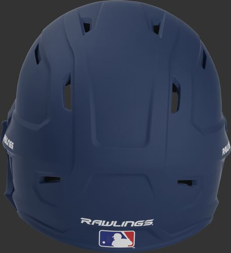 Back of a MACHEXTR high performance MACH helmet with a matte navy shell and Official Batting Helmet of MLB logo
