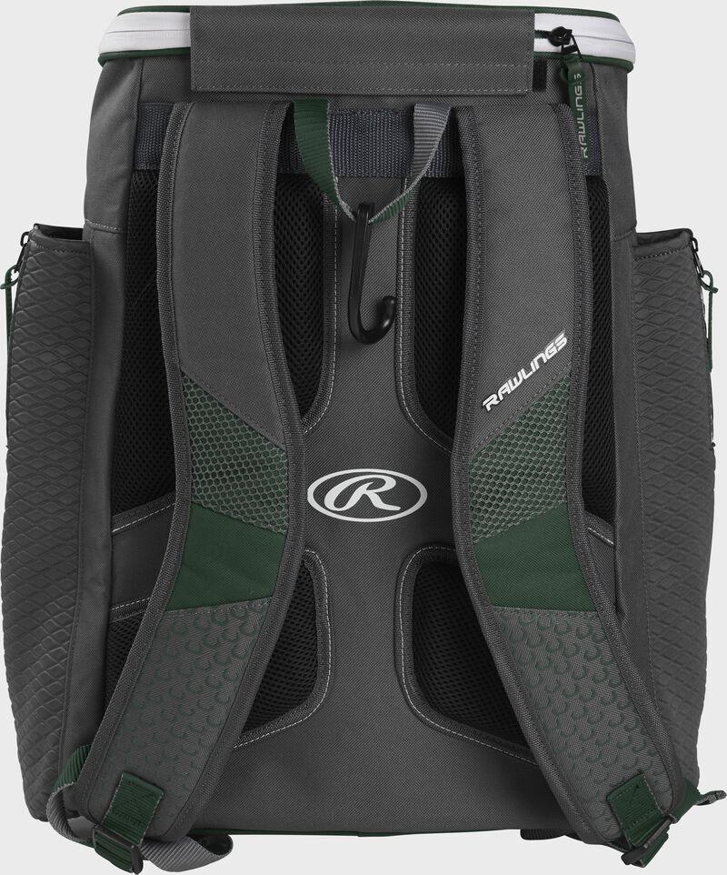 Back of a dark green Rawlings Impulse baseball backpack with gray shoulder straps - SKU: IMPLSE-DG