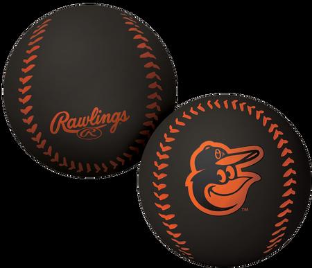 A black Baltimore Orioles Big Fly rubber bounce ball