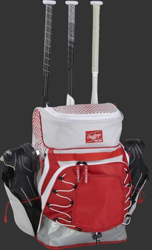 R800 fastpitch softball bag with a sturdy, white/scarlet design and designed to hold 3 bats