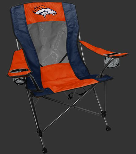 An orange/blue Denver Broncos high back chair with team logo on the back - SKU: 09211066519