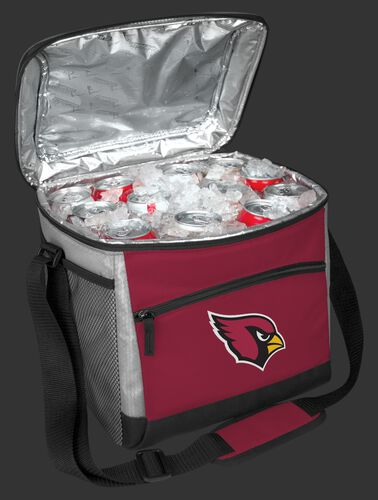 An open Arizona Cardinals 24 can cooler filled with ice and drinks - SKU: 10211081111