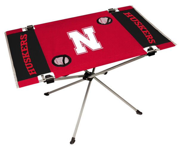 Rawlings Red and Black NCAA Nebraska Cornhuskers Endzone Table With Two Cup Holders, Team Logo, and Team Name SKU #04053089111