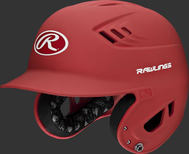 A scarlet R16MS Velo senior batting helmet with Cool-Flo vents