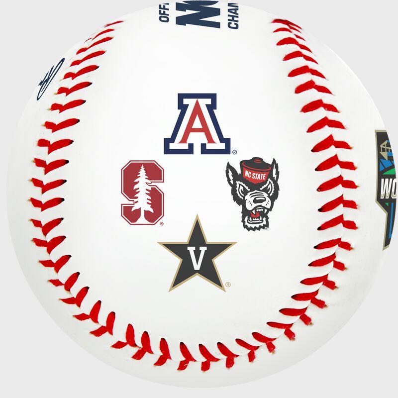 Arizona, Stanford, NC State, and Vanderbilt logos on a 2021 College World Series Contenders replica baseball - SKU: 35393012531