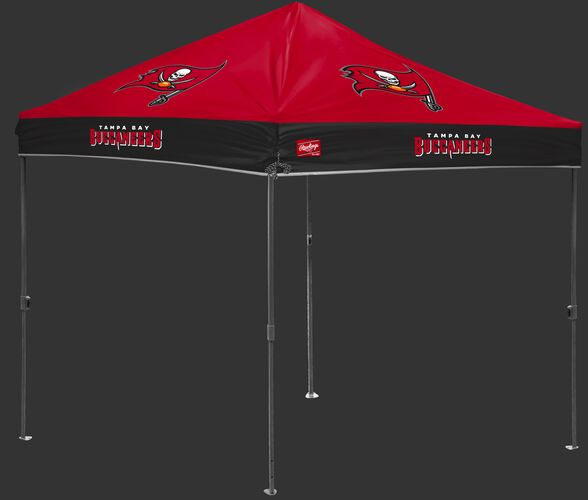 A red/black NFL Tampa Bay Buccaneers 10x10 canopy with team logos on each side - SKU: 02231086111