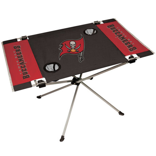 A NFL Tampa Bay Buccaneers endzone table with the team logo on in the middle and on the sides