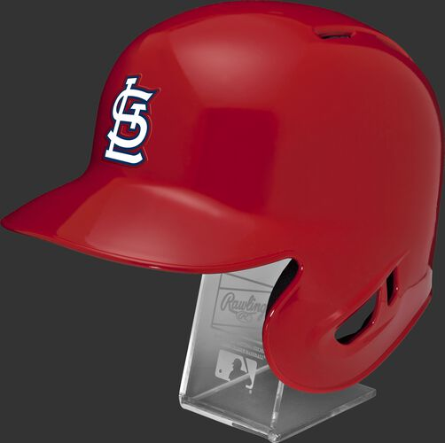 Left angle view of a MLBRL-STL replica St. Louis Cardinals single ear flap helmet on a display stand