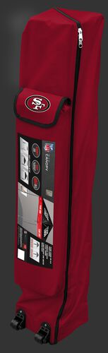 Red wheeled carry case of a San Francisco 49ers canopy with the team logo on the outside compartment - SKU: 02231084111