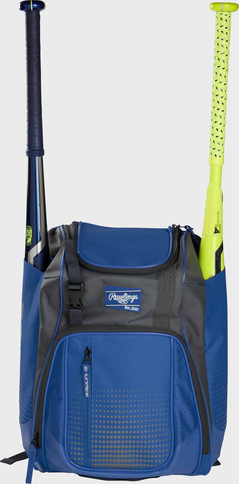 Front of a royal Rawlings Franchise baseball backpack with two bats in the side sleeves - SKU: FRANBP-R