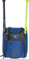 Front of a royal Rawlings Franchise baseball backpack with two bats in the side sleeves - SKU: FRANBP-R image number null