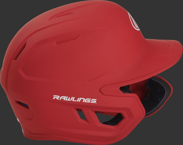 Right side of a MACHEXTR junior Rawlings batting helmet with a one-tone matte scarlet shell