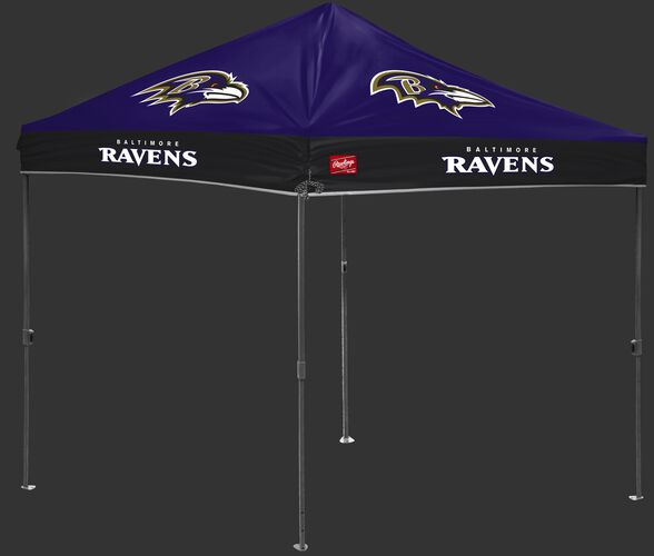 A purple/black NFL Baltimore Ravens 10x10 canopy with team logos on each side - SKU: 02231092111