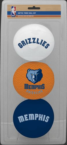Rawlings White, Brown, and Navy NBA Memphis Grizzlies Three-Point Softee Basketball Set With Team Logo SKU #03524210115