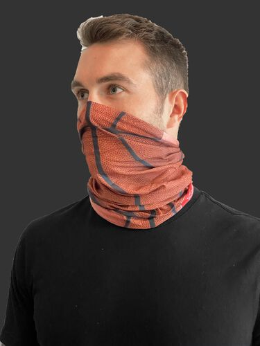 Side view of a guy wearing a Rawlings adult multi-functional head and face gear cover over his mouth & nose - SKU: RC40006-202