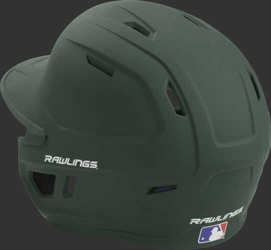 Back left view of a matte dark green MACH series batting helmet with air vents