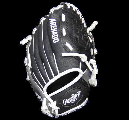 Back of a black MLBPA Nolan Arenado 9-inch player glove