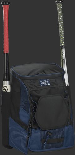 Front right of a navy/black R600 Rawlings players bag with two bats and Oval R printed on the bottom panel