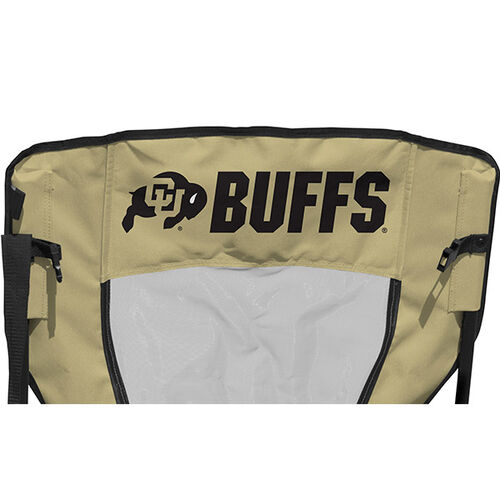 Back of Rawlings Gold and Black NCAA Colorado Buffaloes High Back Chair With Team Name SKU #09403071518