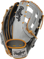Black croc embossed back of a Heart of the Hide ColorSync 5.0 H-web outfield glove with a gray Rawlings patch - SKU: PRO3030-6GC image number null