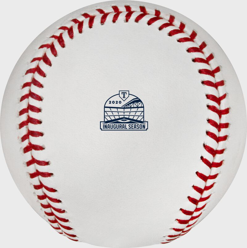 The Texas Rangers inaugural season at Glove Life Field logo stamped on a MLB baseball - SKU: ROMLBTRIN20
