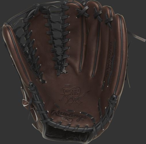 PRO601CHBP Rawlings Heart of the Hide outfield glove with a chocolate palm and black laces