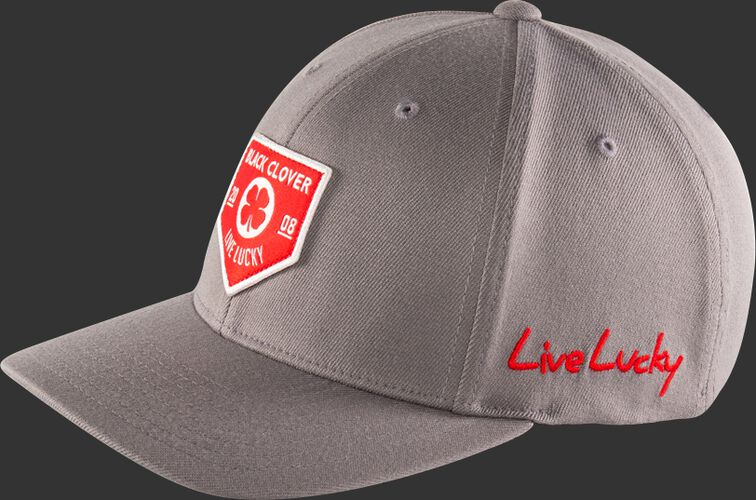Side View Of Rawlings Black Clover Authentic Fitted Hat - Gray With Red Emblem - SKU #BC0A000071