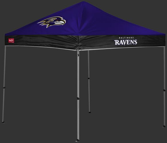 A purple/black Baltimore Ravens 9x9 shelter with a team logo on the left side - SKU: 03231092112