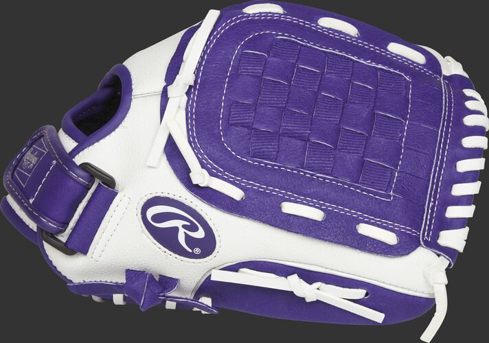 Thumb of a white Rawlings 11.5-Inch fastpitch softball glove with a purple Basket web - SKU: ACAFP115PURW