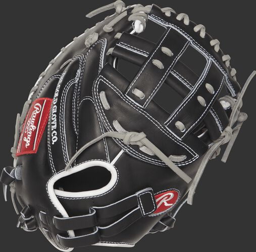 Back view of a black PROCM33FP-24BG 33-inch Heart of the Hide softball catcher's mitt with a Pull-Strap back design
