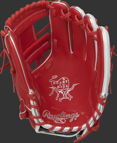 Scarlet palm of a R2G infield glove with scarlet laces and silver stamping - SKU: PROR204U-2SW