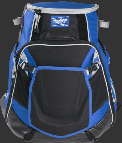 Front of a royal VELOBK Velo backpack with royal trim and a royal Rawlings patch