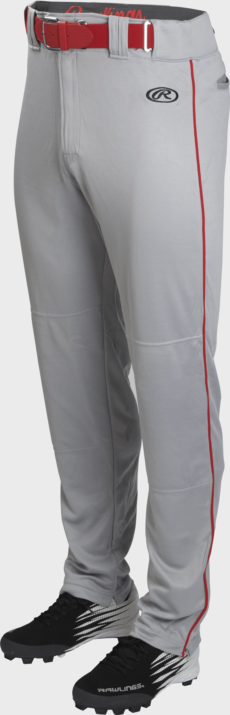 Front of Rawlings Blue Gray/Scarlet Adult Launch Piped Semi-Relaxed Baseball Pant - SKU #LNCHSRP-BG/S