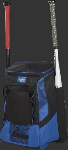 Front left of a royal/black R600 Rawlings players equipment backpack with two bats