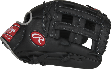 Thumb view of a black SPL120AJBB Select Pro Lite 12-inch Aaron Judge glove with a black H-web