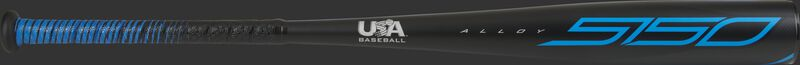 A black 2021 5150 USA bat with blue accents - SKU: US15