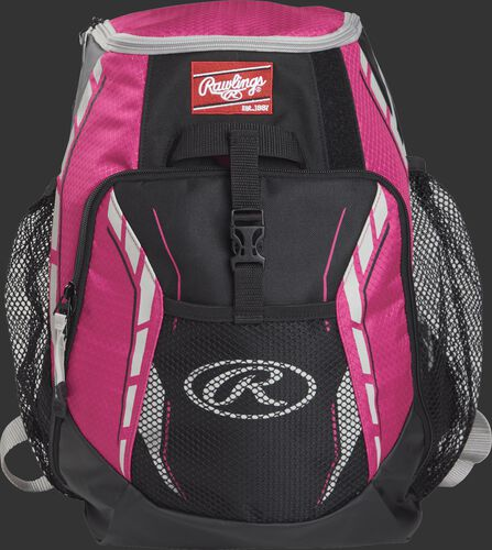 A pink R400 youth players team backpack with a gray Oval R logo on the front pocket