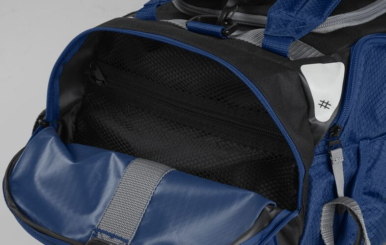 Side pocket of a navy R601 hybrid backpack/duffel bag with a mesh compartment