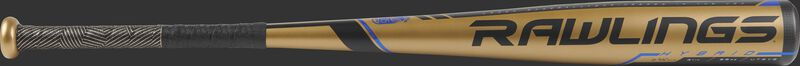 UT9V5 Velo USSSA -5 bat with a gold barrel and black/blue accents