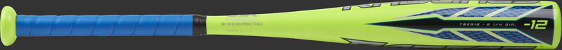 TBZR12 Rawlings -12 Raptor t-ball bat with a lime green barrel and blue grip