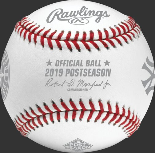 An official ALCS19DL 2019 American League Championship Series dueling baseball with the league commissioner's signature