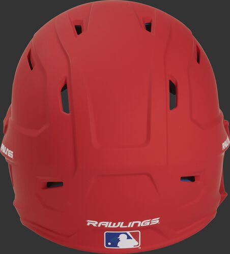 Back of a MACHEXTL high performance adult MACH helmet with a matte scarlet shell and Official Batting Helmet of MLB logo