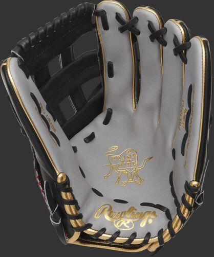 Grey palm of a Rawlings Bryce Harper model Heart of the Hide outfield glove with a black web and black laces - SKU: PROBH3