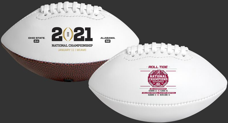 Two 2021 Alabama Crimson Tide College Football National Champions youth sized footballs