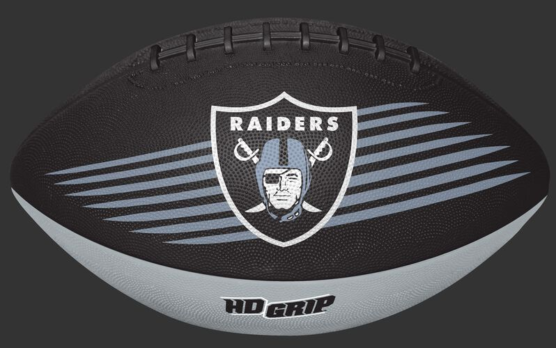 Black and Silver NFL Oakland Raiders Downfield Youth Football With Team Logo SKU #07731072121